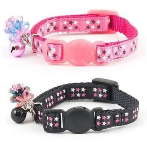 kitten collar by Ancol with star pattern & charm safety buckle & bell pink or black